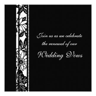 Black White Wedding Vow Renewal Invitations