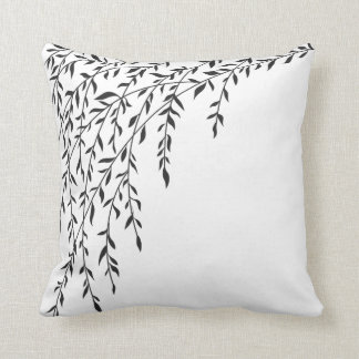 Black & White Weeping Willow Tree Branches Leaves Cushion
