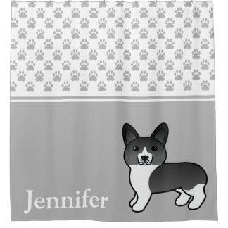 Black & White Welsh Corgi Cartoon Dog With Name Shower Curtain