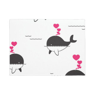 Black & White Whale Design with Hearts Doormat