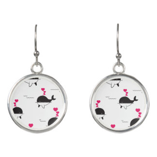 Black & White Whale Design with Hearts Earrings