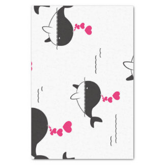 Black & White Whale Design with Hearts Tissue Paper