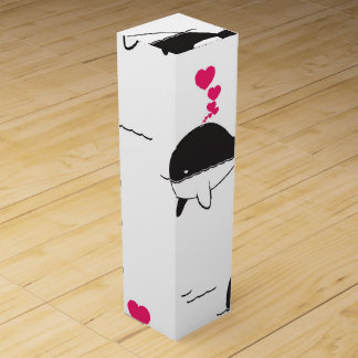 Black & White Whale Design with Hearts Wine Boxes