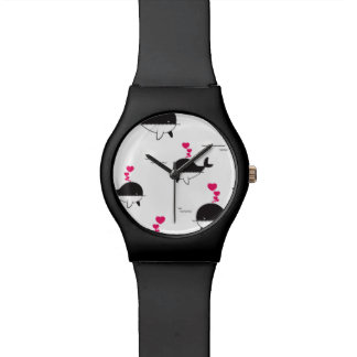 Black & White Whale Design with Hearts Wrist Watches