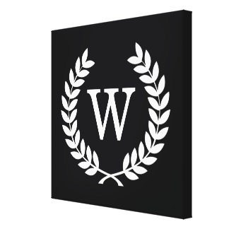 Black White Wheat Laurel Wreath Initial Monogram Canvas Print