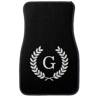 Black White Wheat Laurel Wreath Initial Monogram Car Mat