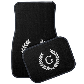 Black White Wheat Laurel Wreath Initial Monogram Floor Mat