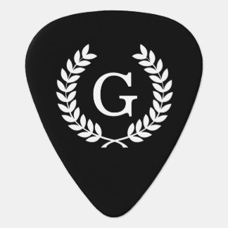 Black White Wheat Laurel Wreath Initial Monogram Guitar Pick