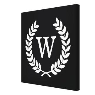 Black White Wheat Laurel Wreath Initial Monogram Stretched Canvas Prints
