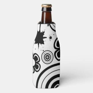 Black & White Whimsical Flowers, Circles, Splatter Bottle Cooler