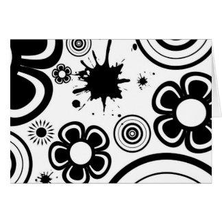 Black & White Whimsical Flowers, Circles, Splatter Card