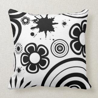 Black & White Whimsical Flowers, Circles, Splatter Cushion
