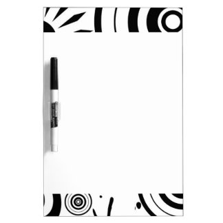 Black & White Whimsical Flowers, Circles, Splatter Dry Erase Board