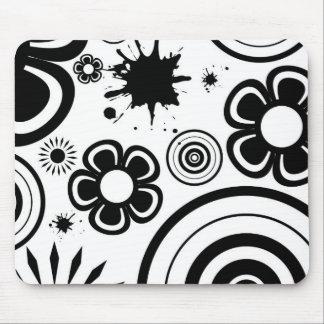 Black & White Whimsical Flowers, Circles, Splatter Mouse Pad