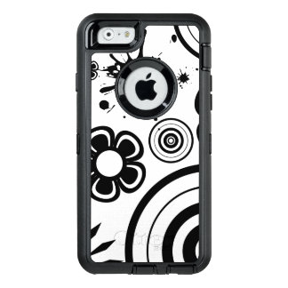 Black & White Whimsical Flowers, Circles, Splatter OtterBox Defender iPhone Case