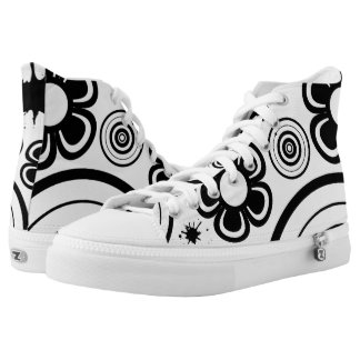 Black & White Whimsical Flowers, Circles, Splatter Printed Shoes