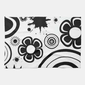 Black & White Whimsical Flowers, Circles, Splatter Tea Towel