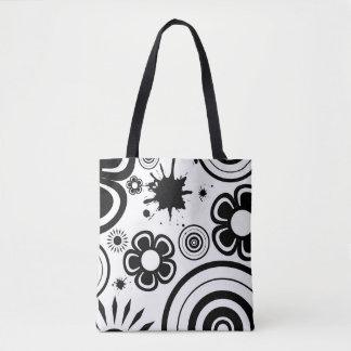 Black & White Whimsical Flowers, Circles, Splatter Tote Bag