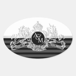 Black White White Lion Unicorn Emblem Monogram Oval Sticker