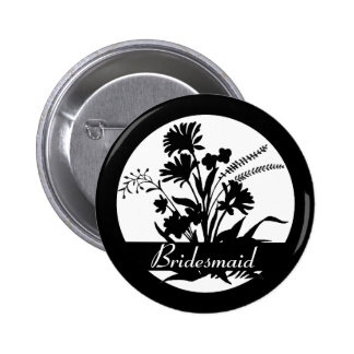 Black white wildflower bridesmaid button