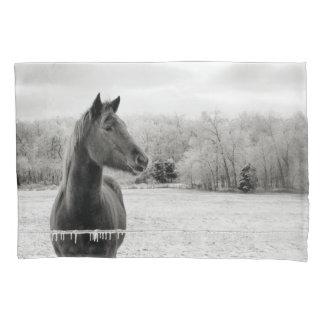 Black & White Winter Horse pillow case