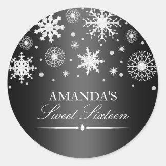 Black & White Winter Wonderland Sweet 16 Sticker