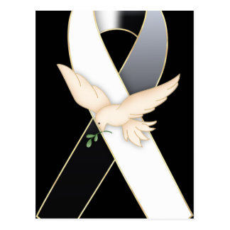 Black & White with Dove Ribbon Awareness Postcards