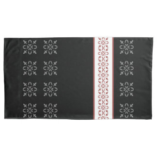Black White with Red French Inspired Damask Strip Pillowcase