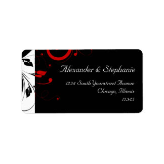 Black +White with Red Reverse Swirl Wedding Label Address Label