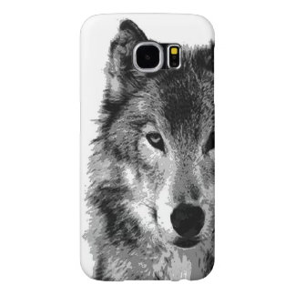 Black & White Wolf Artwork Samsung Galaxy S6 Cases