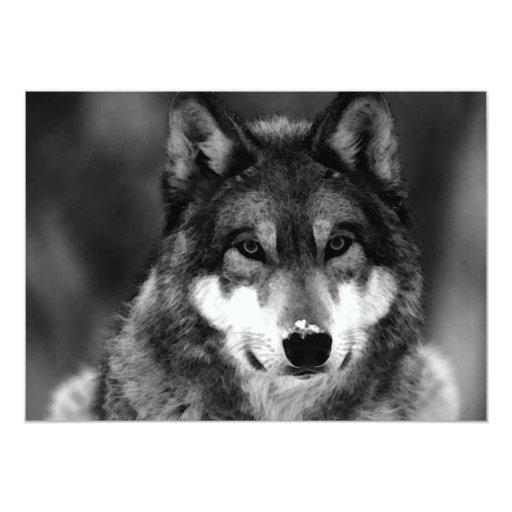 Black & White Wolf Invitation