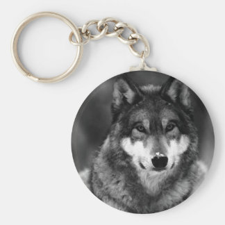 Black & White Wolf Key Ring