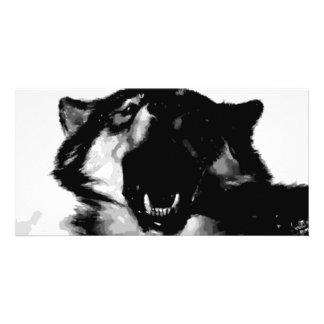 Black & White Wolf Photo Greeting Card