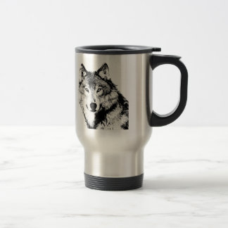 Black & White Wolf Travel Mug