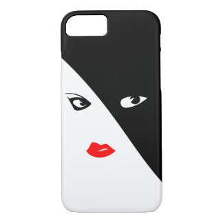 Black White woman Apple iPhone Case