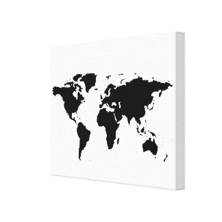 black white world-map canvas print