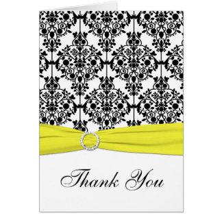Black, White, Yellow Damask Thank You Note Card