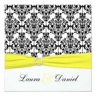 "Black, White, Yellow Damask Wedding Invitation 5.25"" Square Invitation Card"
