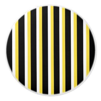 Black, White, Yellow Stripe Design - Drawer Knob