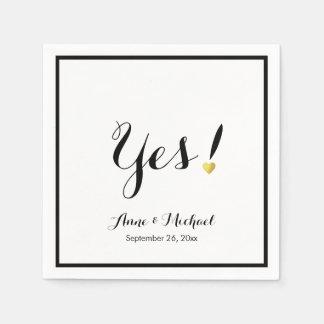 black/white Yes! wedding reception party Paper Napkin