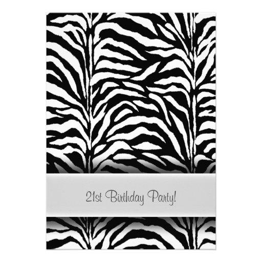 Black White Zebra 21st Birthday Party Custom Announcements