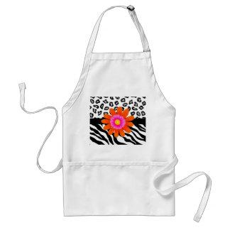 Black & White Zebra & Cheetah Skin & Orange Flower Standard Apron