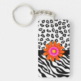 Black & White Zebra & Cheetah Skin & Orange Flower Double-Sided Rectangular Acrylic Key Ring