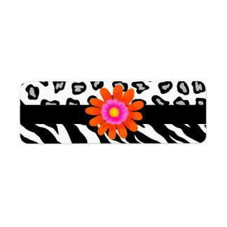 Black & White Zebra & Cheetah Skin & Orange Flower Return Address Label
