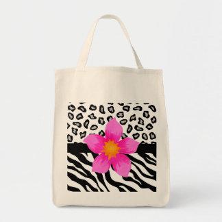 Black & White Zebra & Cheetah Skin & Pink Flower