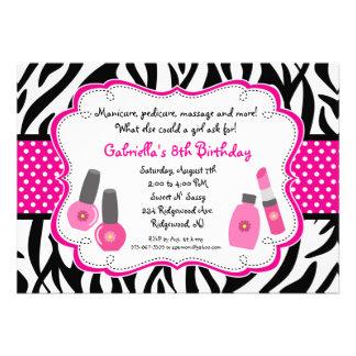 Black White Zebra Girls Spa Invite