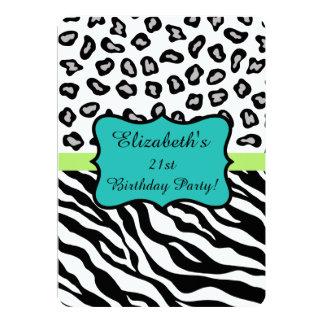 Black White Zebra Leopard Skin 21th Birthday Party 13 Cm X 18 Cm Invitation Card