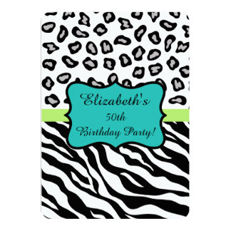 Black White Zebra Leopard Skin 50th Birthday Party 13 Cm X 18 Cm Invitation Card