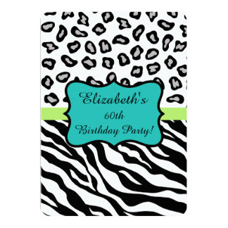 Black White Zebra Leopard Skin 60th Birthday Party 13 Cm X 18 Cm Invitation Card