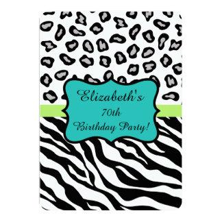 Black White Zebra Leopard Skin 70th Birthday Party 13 Cm X 18 Cm Invitation Card